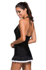 Her Two-piece Trendy Look Halter Swimdress and Black Panty Swimwear