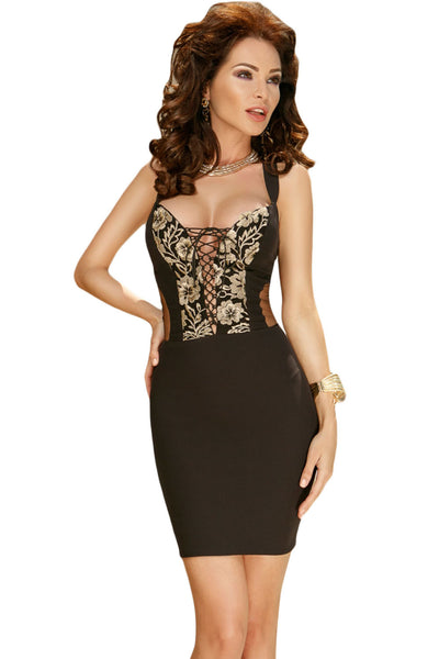 Her Ultimate Party Look Gold Embroidery Long Tail Black Party Dress