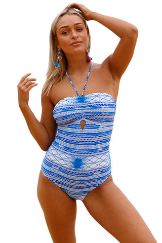 Her Unique Print Lace up Crisscross Back Printed One Piece Swimwear
