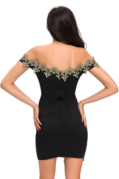 Her Unique Style Gold Lace Applique Green Off Shoulder Mini Dress