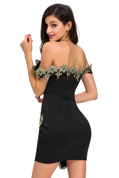 Her Unique Style Gold Lace Applique Purple Off Shoulder Mini Dress