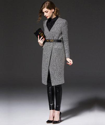 Her Haute Couture V-Neck Slim Wool Coat