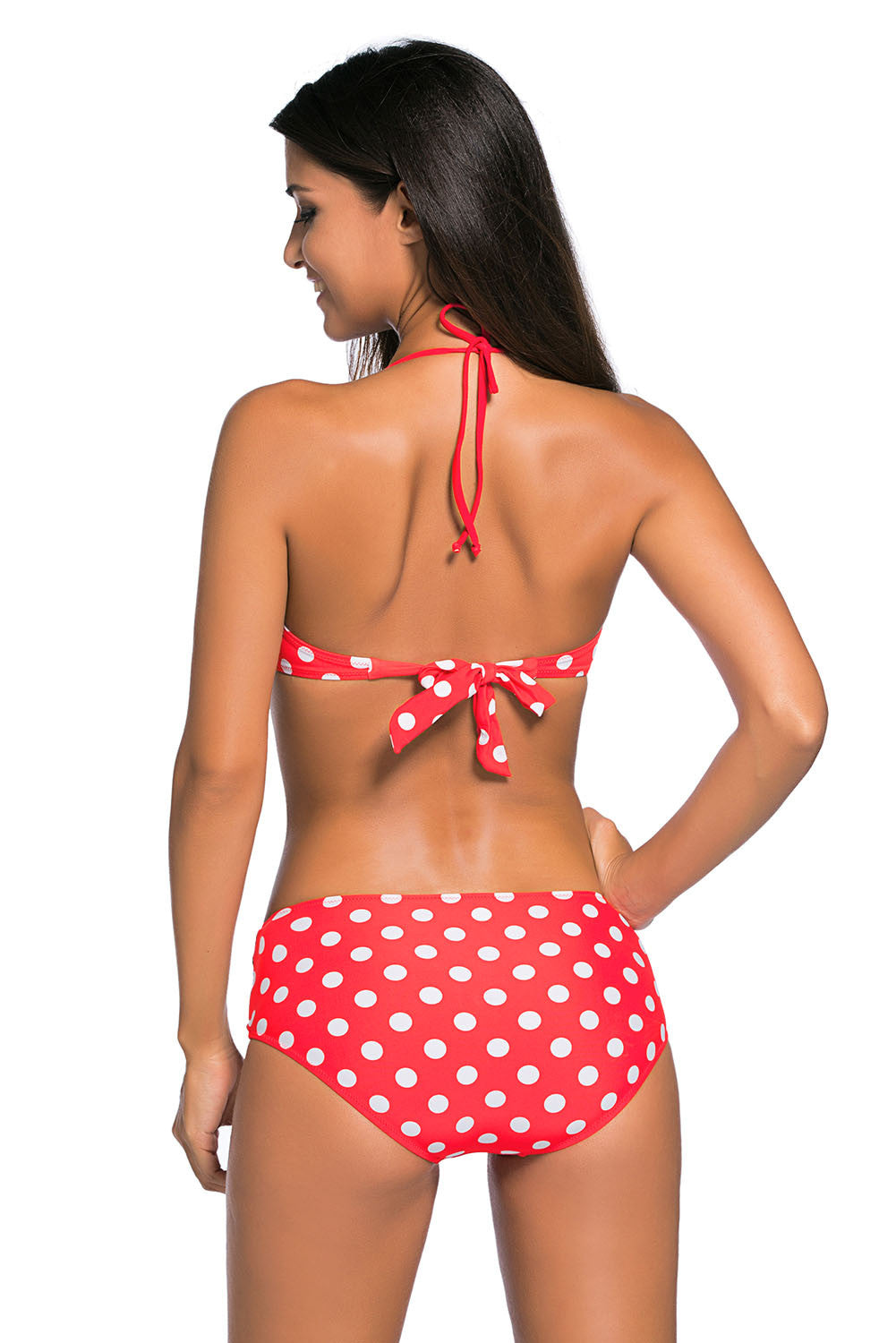 Vintage Red White Polka Dotted Bikini High Waist Bathing Suit
