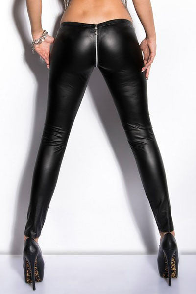 Her Wet Look Reversible Zippered Faux Leather Leggings