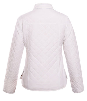 Her Stylish White Diamond Plaid Quilted Cotton Fashion Jacket