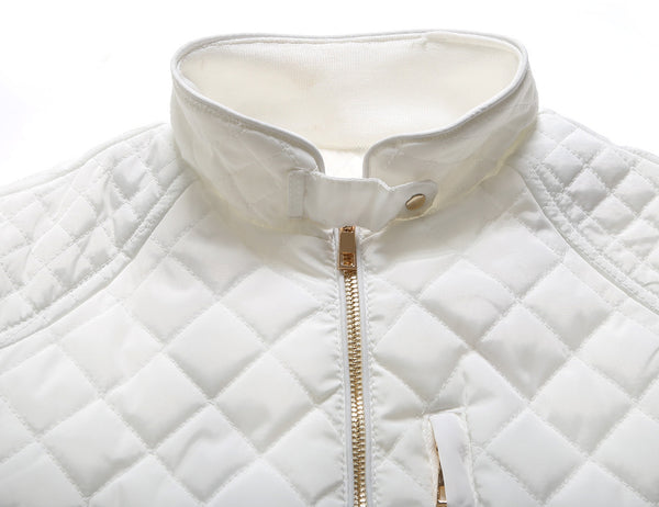 Her Stylish White Diamond Quilted High Neck Cotton Cute Jacket