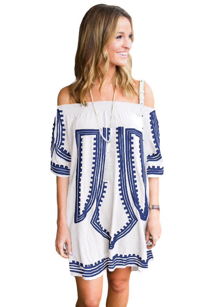 Her White Bohemian Vibe Geometric Print Off The Shoulder Beach Dress