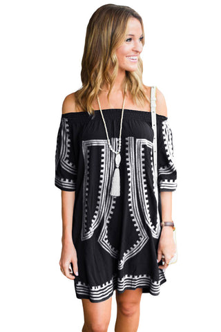 Her Black Bohemian Vibe Geometric Print Off The Shoulder Beach Dress