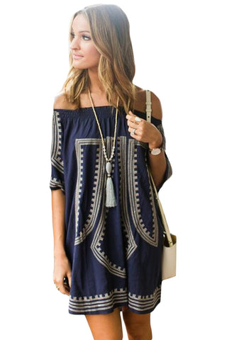 Her Blue Bohemian Vibe Geometric Print Off The Shoulder Beach Dress