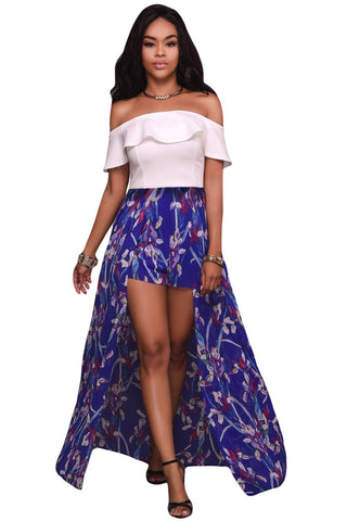 Her White Ruffle Trendy Off Shoulder and Floral Maxi Stunning Romper