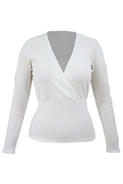 Her White Sexy Crop Plunging Cross V Neck Stretch Knitwear Top