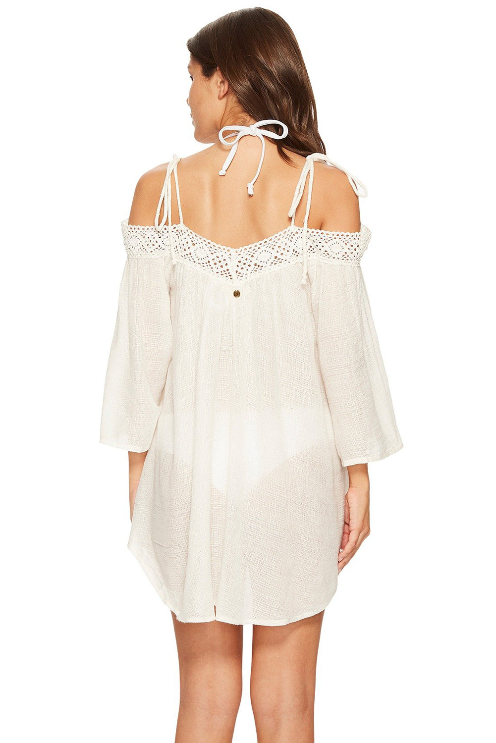 Her White Summer Breeze Cover-up Crochet Off-the-shoulder Beachwear