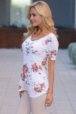 Her White Vibe Floral Print Tee Shirt with Crisscross Neck Top