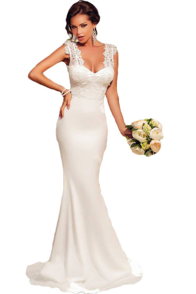 Her White Embroidered Lace Bodice Wedding Party Prom Evening Dress