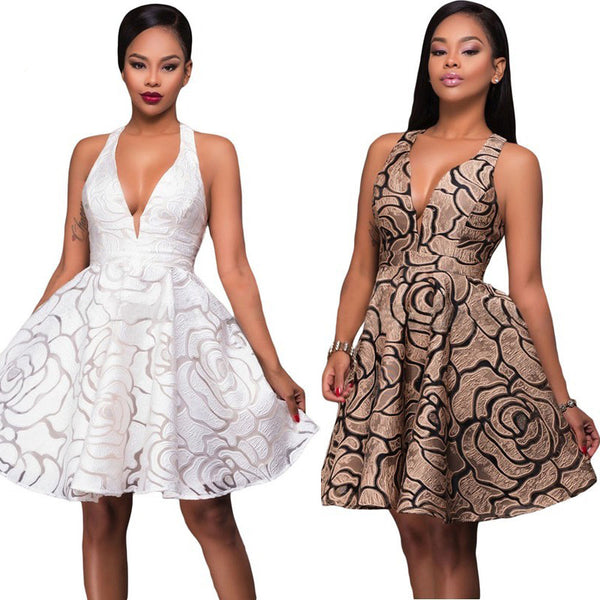 Her Fashion Fit-and-Flare Khaki Jacquard Skater Party Dress ...