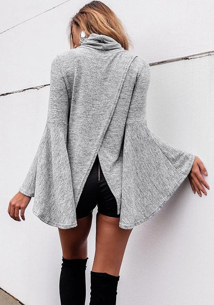 Her Fashionize Look Turtleneck Flared Bell Sleeve Knit