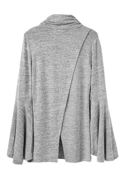 Her Flattering Flared Bell Sleeve Knit Fashionable Blouse