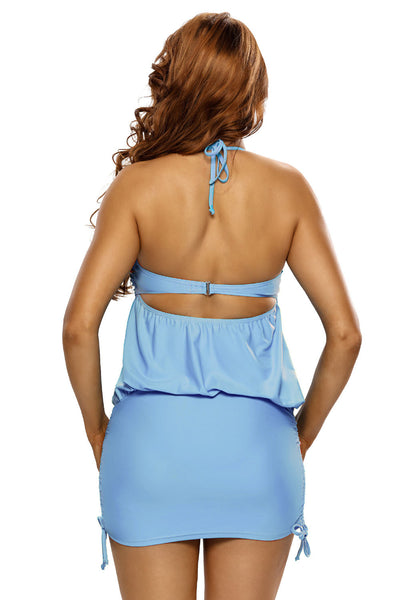 Her Light Blue Halter Bikini Top OnePiece Flattering SwimDress