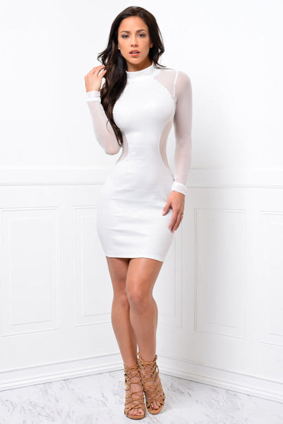 df36ee374da02 Her Long Sleeve Bandage Bodycon Mesh Club Party Cocktail Mini Dress –  HisandHerFashion.com
