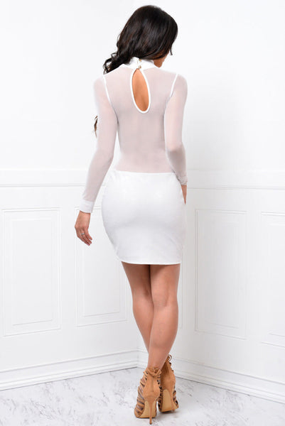 7dfd55e31b503 Her Long Sleeve Bandage Bodycon Mesh Club Party Cocktail Mini Dress ...