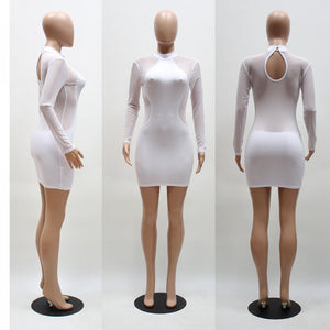Her Long Sleeve Bandage Bodycon Mesh Club Party Cocktail Mini Dress