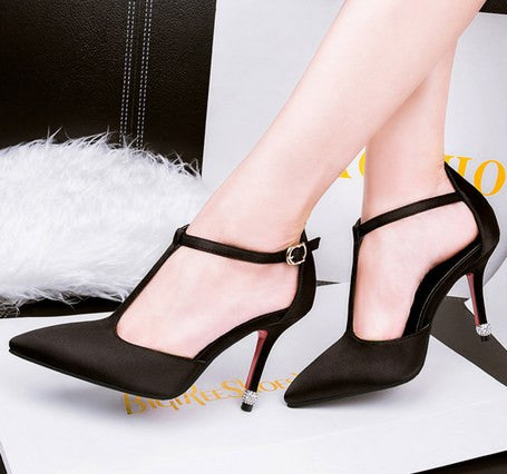 High-heeled Silk Fabrics Pointed Toe Sexy Thin Heels Shoes