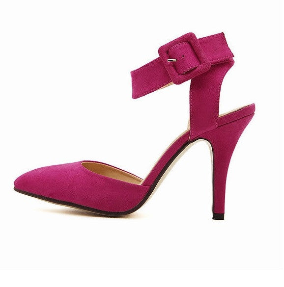 High-heeled Suede Cover Red Rose Sandal