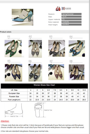 High Heels Pumps Slip On Colorful Deco HHF Pointed Toe Womens Shoes