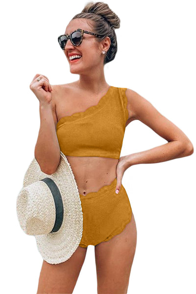 Yellow High Waist Swimsuit Scalloped Trim One Shoulder Adorable Bikini