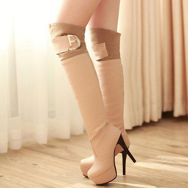 High Heel Boots Metal Buckle Over Knee High Round Toes  Boots