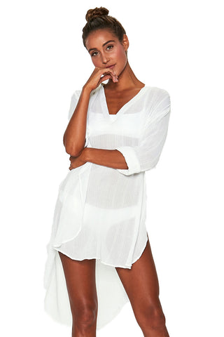 High/Low Hemline Her Fashion White Breezy Cover-Up Tunic Beach Dresses