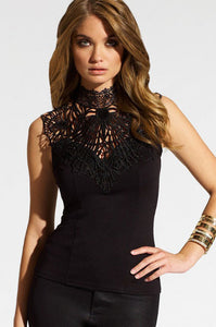 High Neck Trendy Hollow Out Lace Womens Top