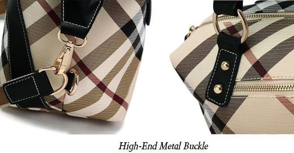High Quality Women Handbags Leather Fashion Bucket Geometric Pattern