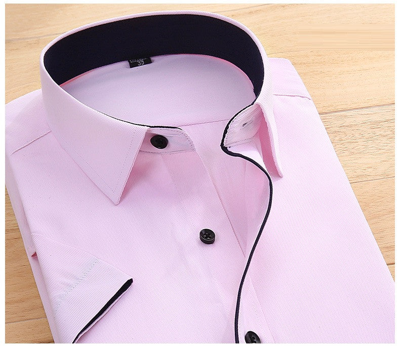 His Fashion Pink Short Sleeve Business Casual Men Dress Shirt