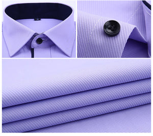 His Fashion Blue Short Sleeve Business Casual Men Dress Shirt
