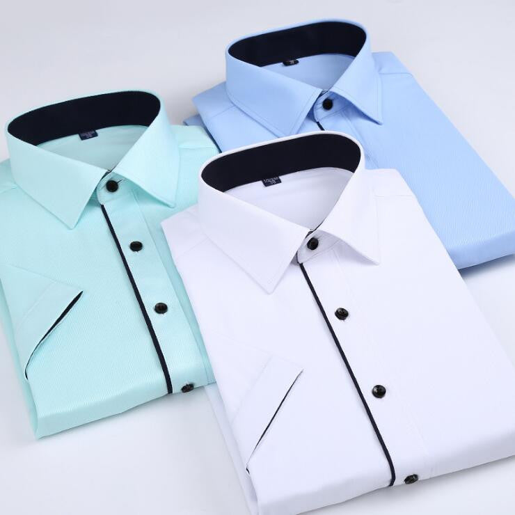 His Fashion Green Short Sleeve Business Casual Men Dress Shirt