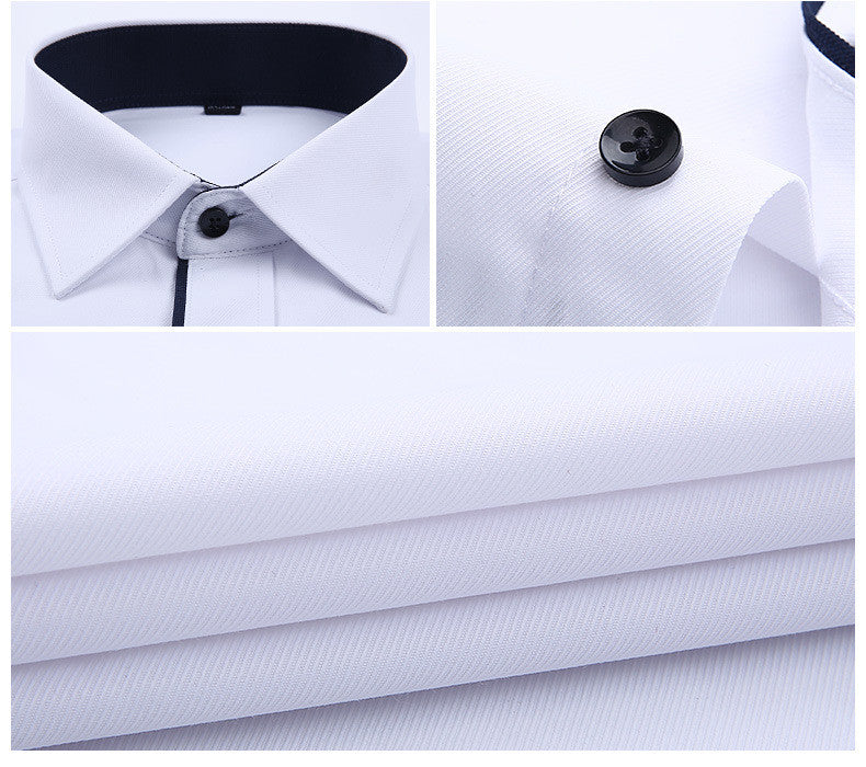 His Fashion White Short Sleeve Business Casual Men Dress Shirt