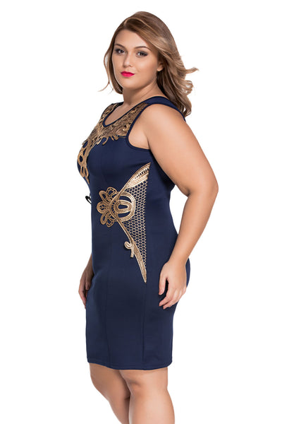 HisandHerFashion Exquisite Foiled Lace Sleeveless Navy Shift Dress