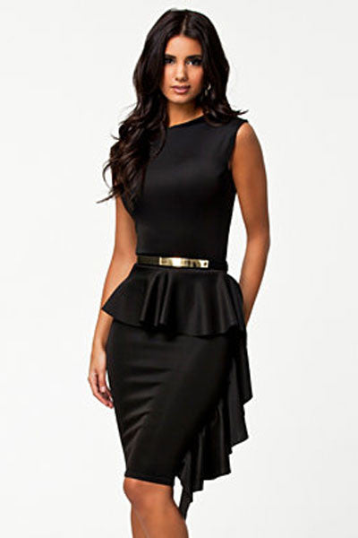 HisandHerFashion Sided Draped Stylish Black Peplum Women Dress