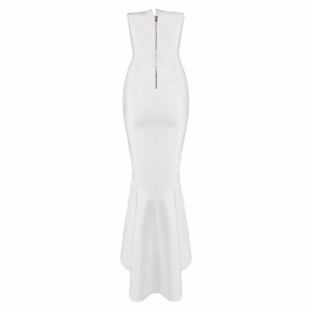Hot Lady Elegant Strapless White Mermaid Bandage Bodycon Womens Dress