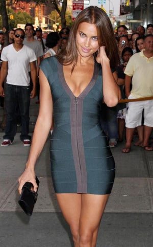 Hot Celebrity Style Bandage Full-Length Zipper Front Party Dress