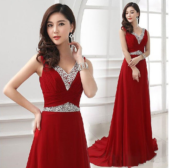 Hot Red Chiffon V-neck Sleeveless New Fashion Elegant Series Formal Prom Evening Dress