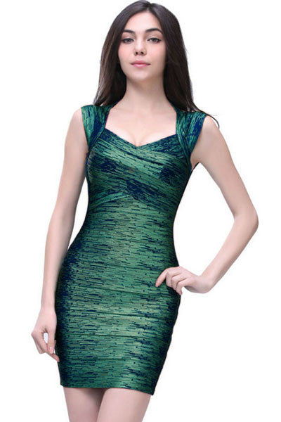 Hottest Trend Green Foil Print Bandage Celebrity Style Dress