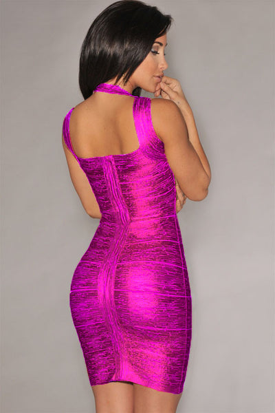 Hottest Trend Rosy Foil Print Bandage Celebrity Style Dress