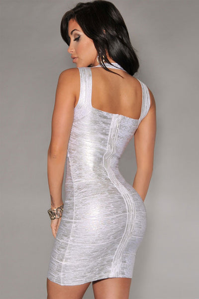 Hottest Trend Silver Foil Print Bandage Celebrity Style Dress