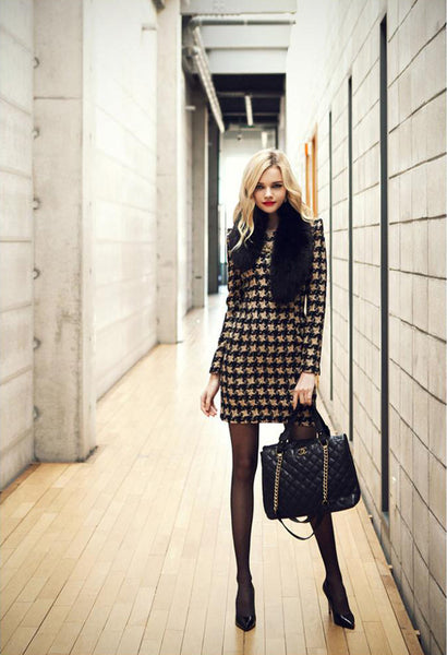 """Impression Series"" Plaid Long Sleeve Evening Mini Bodycon Dress"