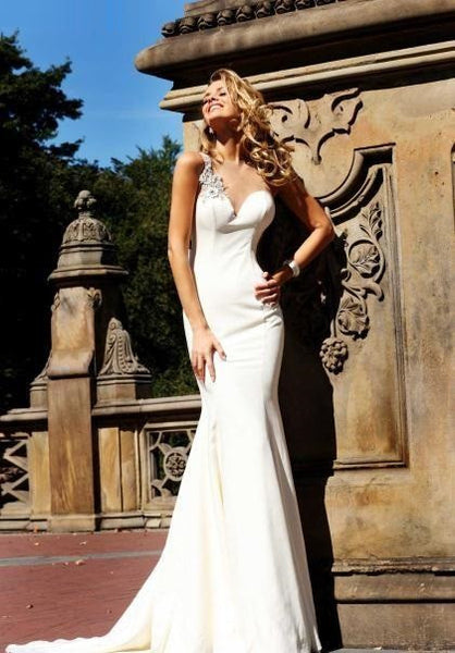 Ivory Mermaid Prom Dress Sheer Straps Long Beads Sheath Evening Dresses Wedding