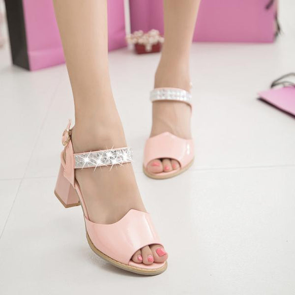 """Mod Series"" Japanned Leather Open Toe Thick High-Heel  Shoes"