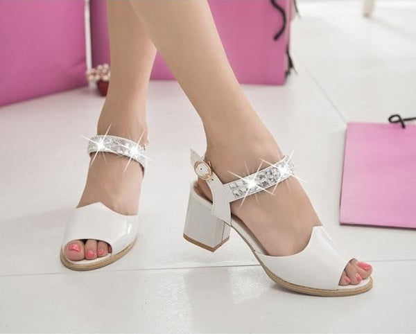 Japanned Leather Open Toe  thick high-heeled  shoes