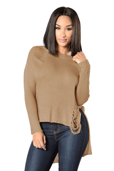 "Khaki Sheer Knit Distressed Detail  Sweater ""Limited Edition"""